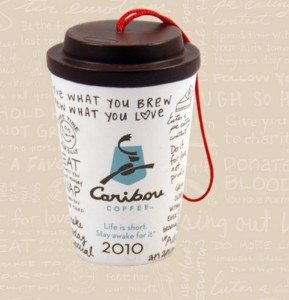 2010 Caribou White Ornament Image