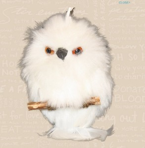 2012 Furry White Owl Ornament Image