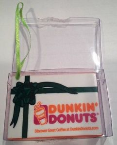 2001 DD Holiday Donut Box Lt Gn Ribbon