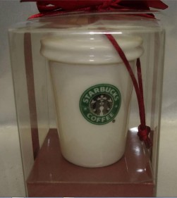 2004 White To Go Cup Ornament Small Logo