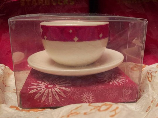 2006 Cup and Saucer Red Rimmed
