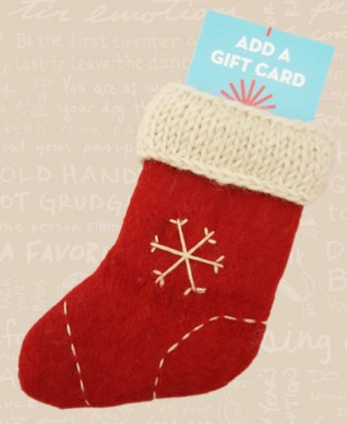 2015 Red Stocking Snowflake Card Ornament1