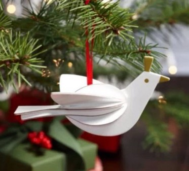 2012 Dove Cut Out Ornament USA White Finished